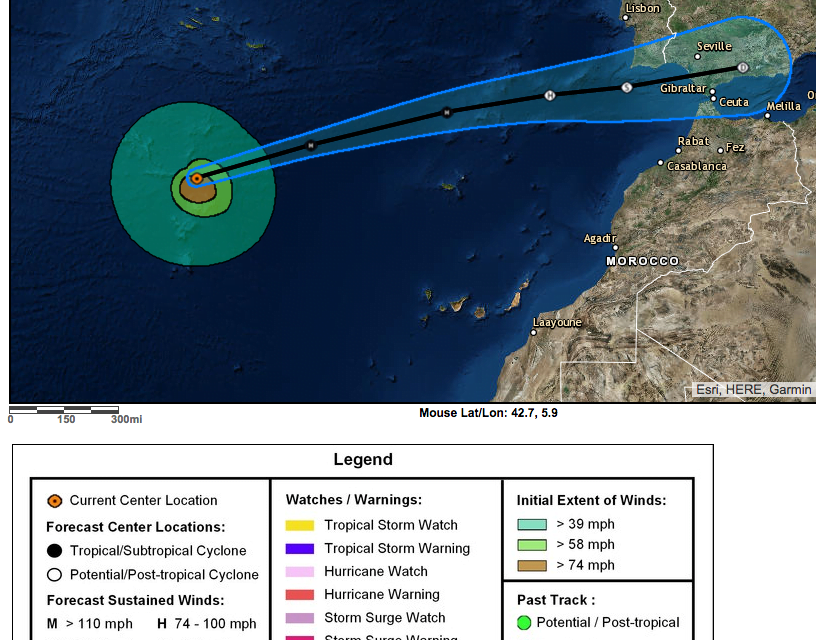 """Zombie"" Hurricane Leslie really unlikely to hit The Canary Islands… but she could…"