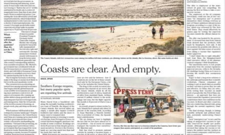 Canary Islands on The New York Times front page: Southern Europe Opens Its Doors to Tourists. Not Many Are Coming. –