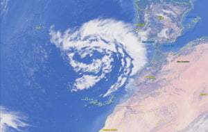 wintery weather caused by meandering depression over east atlantic