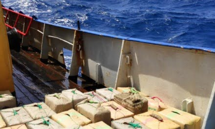 Detained without bail: Three Ukrainian crew members from the hashish smuggling Panamanian-flagged fishing vessel intercepted last weekend