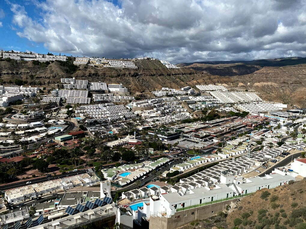 Mogán Local Police detain an alleged drug dealer in the otherwise quiet and deserted streets of Puerto Rico de Gran Canaria
