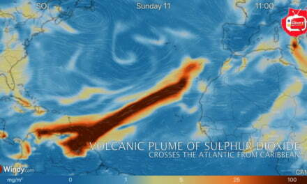 Volcanic Plume of Sulphur Dioxide Stretches Across The Atlantic From The Caribbean to The Canary Islands
