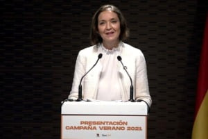 The Minister of Industry, Commerce and Tourism, Reyes Maroto, at the presentation of the You Deserve Spain campaign