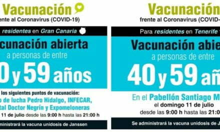Vaccination day without an appointment for 40-59 year olds this Sunday on Gran Canaria