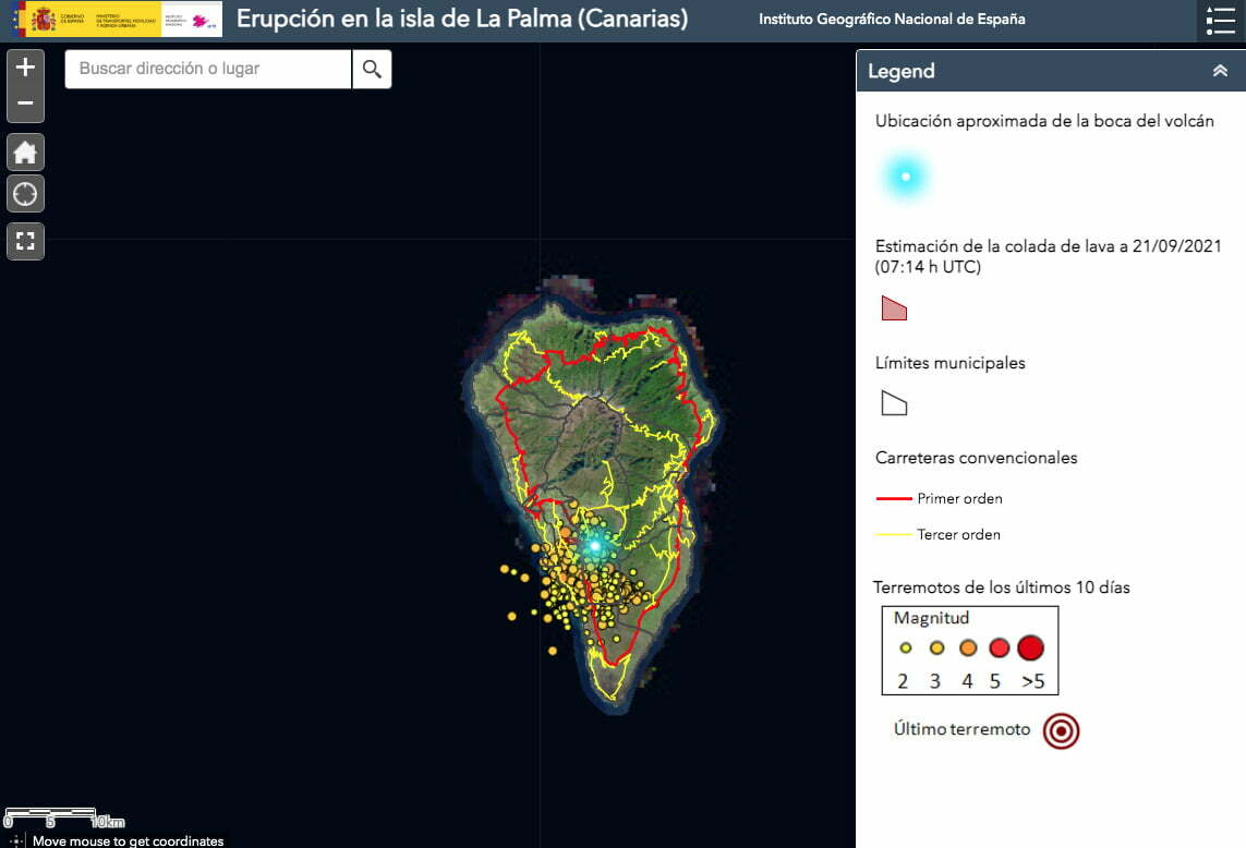 La Palma Volcano Eruption live monitoring courtesy of IGN (National Geographic Institute of Spain)